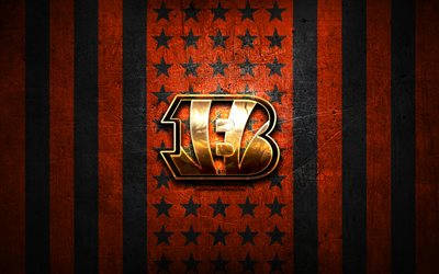 Cincinnati Bengals flag, NFL, orange black metal background, american football team, Cincinnati Bengals logo, USA, american football, golden logo, Cincinnati Bengals