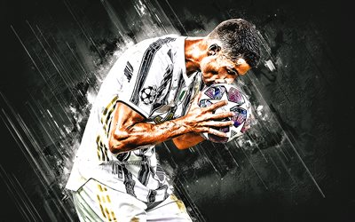 Cristiano Ronaldo, Juventus FC, Champions League, football, stone gray background, CR7, Champions League ball