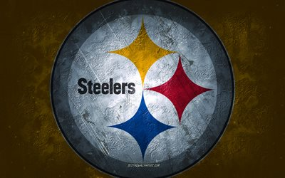 Pittsburgh Steelers, American football team, yellow stone background, Pittsburgh Steelers logo, grunge art, NFL, American football, USA, Pittsburgh Steelers emblem