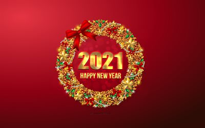 2021 Happy New Year, 4k, 2021 Christmas background, gold ornaments, 2021 concepts, 2021 New Year, Red 2021 background