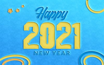 2021 new year, 4k, creative, 2021 yellow cut digits, 2021 concepts, 2021 on blue background, 2021 year digits, Happy New Year 2021