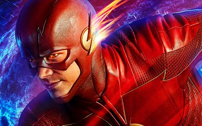 The Flash, 3D art, superheroes, Marvel Comics, fan art, lightings, Flash