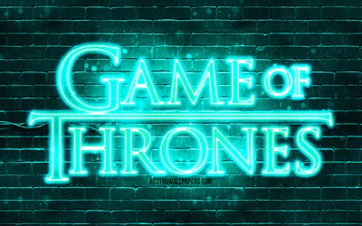 Game Of Thrones turquoise logo, 4k, turquoise brickwall, TV Series, Game Of Thrones logo, fashion Game Of Thrones neon logo, Game Of Thrones