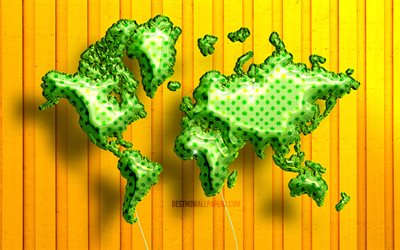 Green Realistic Balloons world map, 4k, 3D maps, World Map Concept, yellow wooden background, Green balloons, creative, 3D world map, Green World Map, World Map