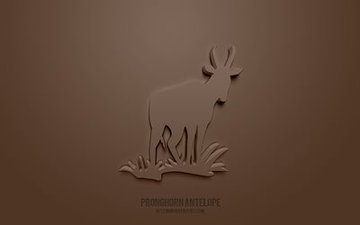 Pronghorn antelope 3d icon, brown background, 3d symbols, Pronghorn antelope, Animals icons, 3d icons, Pronghorn antelope sign, Animals 3d icons