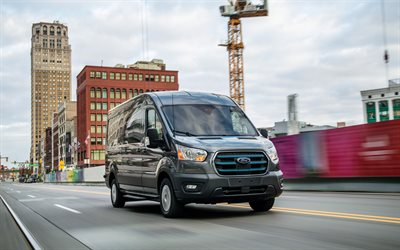 Ford E-Transit, 4k, cargo transport, 2021 buses, electric minibuses, 2021 Ford Transit, Ford