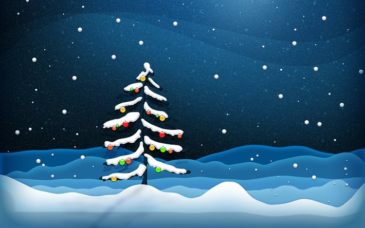 Christmas tree, winter, forest, 3d-graphic, snowfall