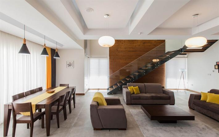 Scarica sfondi soggiorno, design moderno, scala in vetro ...