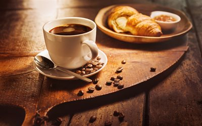 black coffee, breakfast, croissant, white cup, coffee