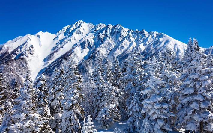 Telecharger Fonds D Ecran Nagano Au Japon Montagnes Hiver Neige Montagne Paysage D Hiver Pour Le Bureau Libre Photos De Bureau Libre