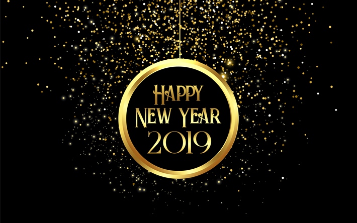 Download wallpapers Happy New Year 2019, golden ball ...