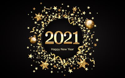 2021 New Year, 2021 black background, gold letters, 2021 concepts, Happy New Year 2021, Gold stars