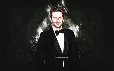 Bradley Cooper, american actor, portrait, gray stone background, creative art, american stars