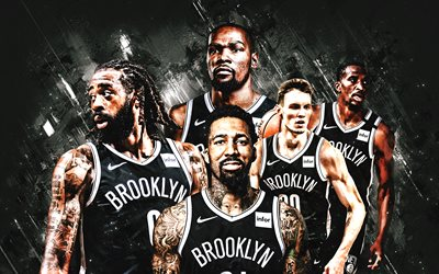Brooklyn Nets, NBA, american basketball club, gray stone background, basketball, Kevin Durant, Kyrie Irving, Caris LeVert
