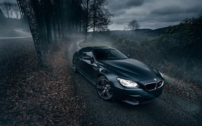 BMW M6, F12, forest road, supercars, 6-Series, darkness, headlights, BMW