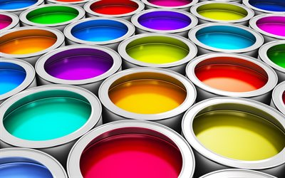 colorful paint, 3d metal cans with paint, acrylic paint, color scheme concepts, color choice
