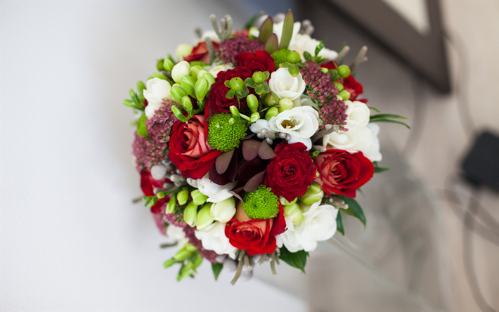 Download wallpapers wedding bouquet, red roses, bouquet of flowers ...