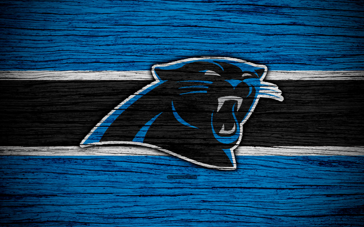 Carolina Panthers, NFL, 4k, wooden texture, american football, logo, emblem