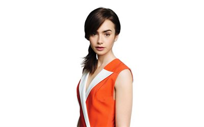 lily collins, fotoshooting, 2018, amertican schauspielerin, hollywood, orange kleid, schönheit
