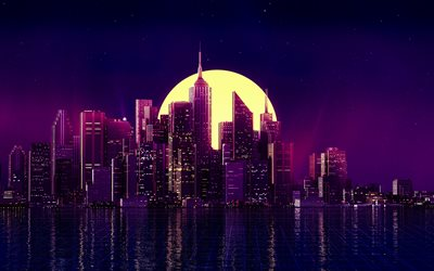 cityscape, 4k, moon, neon art, buildings, skyscrapers, neon city