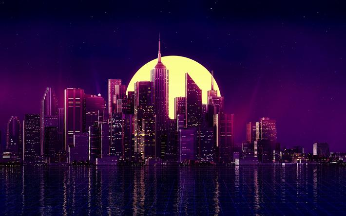 Cityscape 4k Moon Neon Art Buildings Skyscrapers City