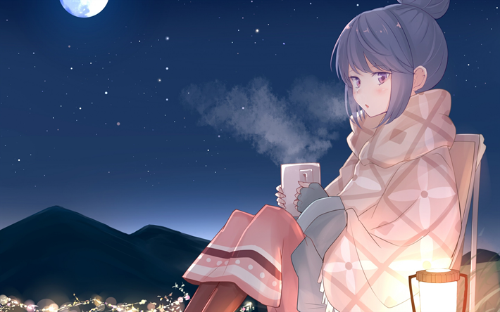 Download Wallpapers Shima Rin Night Manga Yuru Camp For Desktop Free Pictures For Desktop Free