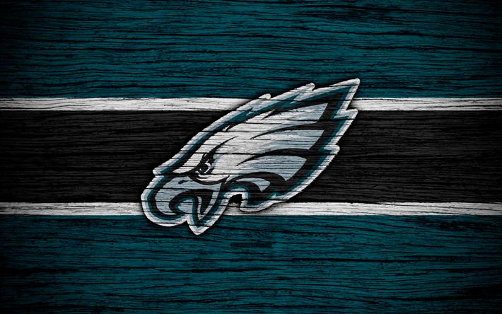 Philadelphia Eagles, 4k, wooden texture