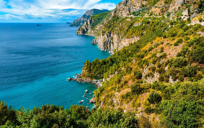 Download Wallpapers Amalfi 4k Coast Sea Summer