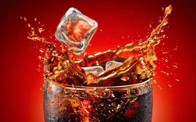 Coca-Cola, splashes, ice, carbonated drink