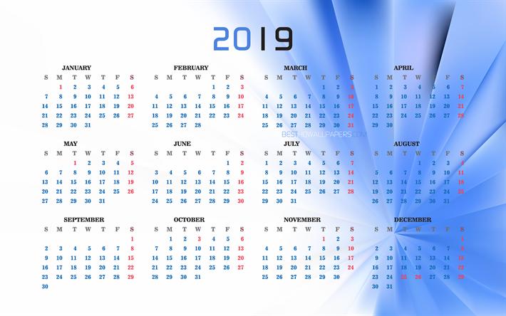 download wallpapers 4k  blue calendar 2019  creative