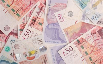 Pound sterling, money background, finance concepts, Pound, banknotes, 50 pounds, British pound