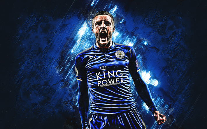 Jamie Vardy, Leicester City FC, striker, joy, goal, blue stone, portrait, famous footballers, football, english footballers, grunge, Premier League, England
