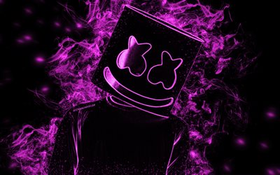 Marshmello, American DJ, purple smoke silhouette, electronic music, creative art, famous DJ, Christopher Comstock