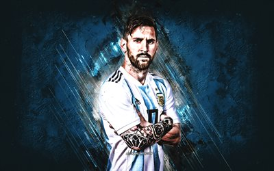 Lionel Messi, Argentina national football team, striker, joy, goal, blue stone, portrait, famous footballers, football, argentinian footballers, grunge, Argentina, Leo Messi