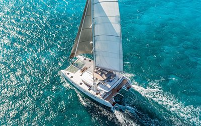 yacht catamaran, view from above, sea, white sails, walk on a yacht, Adriatic Sea, luxury yachts