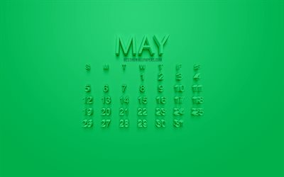 2019 May Calendar, 3d art, green background, stylish 3d calendar, calendar for May 2019, concepts, 3d letters, May