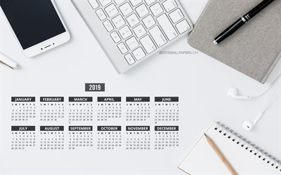 Gray Business Calendar 2019, 4k, business composition, 2019 Yearly Calendar, keyboard, smartphone, Gray Calendar 2019, Calendar 2019, gray background, Year 2019 Calendar, 2019 calendars, 2019 calendar