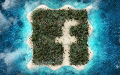 Facebook logo, tropical island, view from the height, creative emblem, island logo, social network, Facebook