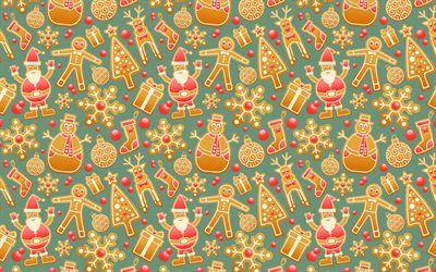 Christmas cookies background, winter background, New Year, background with Christmas cookies, snowman cookies, cartoon cookies background