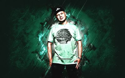 Per Vers, Danish rapper, Per Uldal, portrait, green stone background, popular rappers