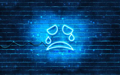 Cry neon icon, 4k, blue background, smiley icons, Cry Emotion, neon symbols, Cry, neon icons, Cry sign, emotion signs, Cry icon, emotion icons