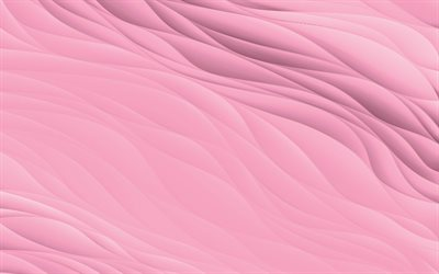 pink waves plaster texture, 4k, pink waves background, plaster texture, waves texture, pink waves texture