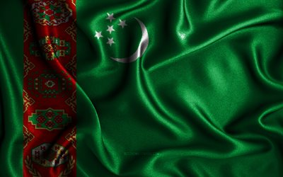 Turkmen flag, 4k, silk wavy flags, Asian countries, national symbols, Flag of Turkmenistan, fabric flags, Turkmenistan flag, 3D art, Turkmenistan, Asia, Turkmenistan 3D flag