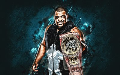 Keith Lee, WWE, American wrestler, portrait, turquoise stone background, World Wrestling Entertainment