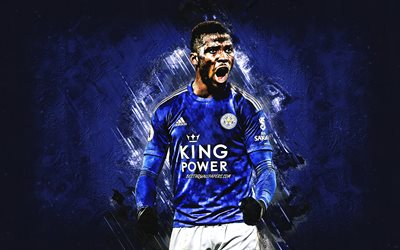 Kelechi Iheanacho, Leicester City FC, Nigerian footballer, portrait, blue stone background, soccer, Premier League