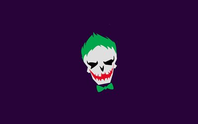 4k, Joker, supervillain, violet backgrounds, creative, minimal, artwork, Joker minimalism, Joker 4K