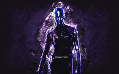 Nebula, Luphomoids, Avengers, portrait, purple stone background, Guardians of the Galaxy, superheroes