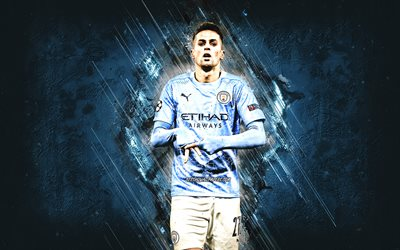 Joao Cancelo, Manchester City FC, Portuguese footballer, portrait, blue stone background, Serie A, Italy