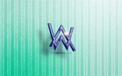 4k, Alan Walker 3D logo, Norwegian DJs, blue realistic balloons, music stars, Alan Walker logo, Alan Olav Walker, blue wooden backgrounds, Alan Walker