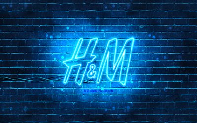H and M blue logo, 4k, blue brickwall, H and M logo, fashion brands, H and M neon logo, H and M